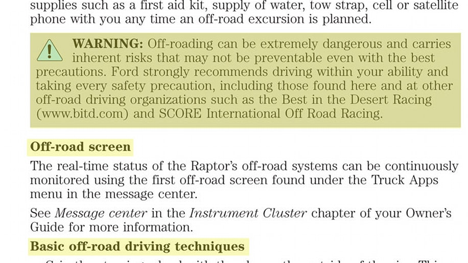 2011 ford raptor owners manual
