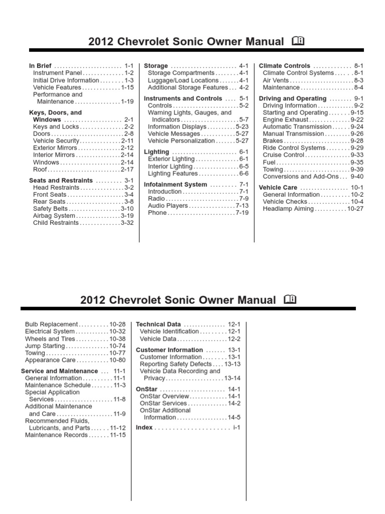 2012 chevy sonic owners manual
